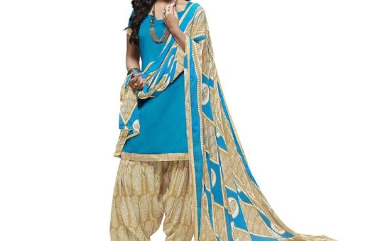 Kesu Fashion Women's Unstitched Salwar Suit Material In Cotton Fabric (KURN1003) Blue