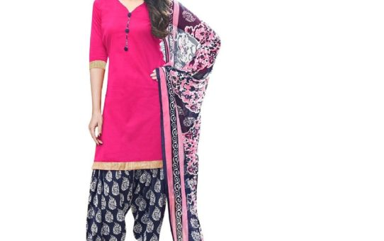 Kesu Fashion Women's Printed Unstitched Salwar Suit Material In Cotton Fabric (KURN1016) Pink