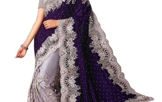 Surat Tex Blue & Silver Color Lycra & Net Embroidered Party Wear Saree with Blouse Piece-I480SECN6