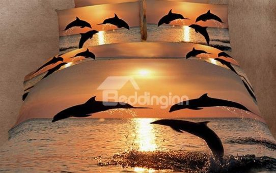 Strong and Vigorous Dolphin in the Setting Sun 4 Piece 3D Cotton Bedding Sets
