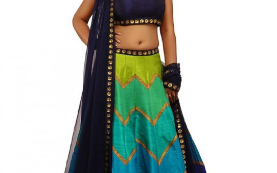 Blue Raw Silk Navratri Special Printed with Sequence Work Lehenga Choli by Layroz