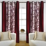 Home Candy Eyelet Fancy Polyester 2 Piece Door Curtain Set – 84″x48″, Maroon (SOE-CUR-172_172)