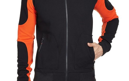 GENES - Lecoanet Hemant Men's Synthetic Jacket (8903425175587_LHGM-701E18 O1_Large_Black and Orange)