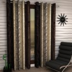 Home Sizzler Abstract 4 Piece Eyelet Polyester Long Door Curtain Set  – 9ft , Brown