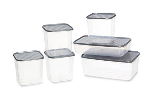 All Time Plastic Polka Container Set, 6-Pieces, Silver