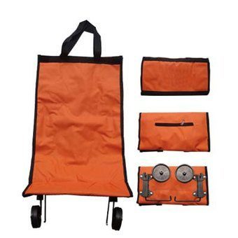 New Collapsible Folding Shopping Trolley Bag Fold As a Bag Light (ORANGE)