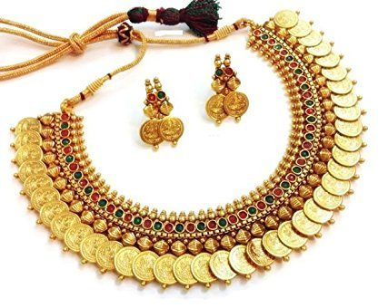 Jwells & More Traditional Temple Coin Jewellery Set With Lakshmi Goddess (Red & Green)