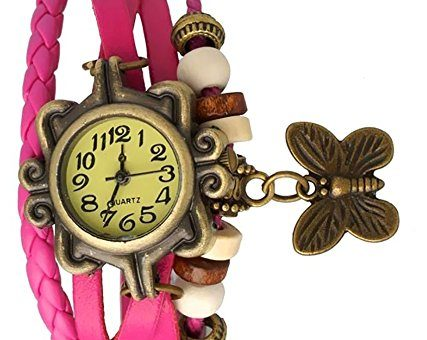 Romero Fancy Vintage styled Rakhi butterfly watch collection - Suitable for Rakshabandhan or any occasion return gift to sister (Pink)
