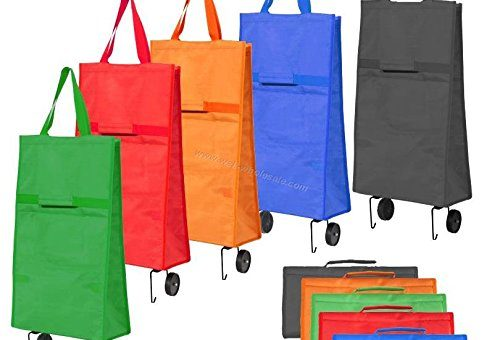 New Collapsible Folding Shopping Trolley Bag Fold As a Bag Light (RANDOM COLOR)
