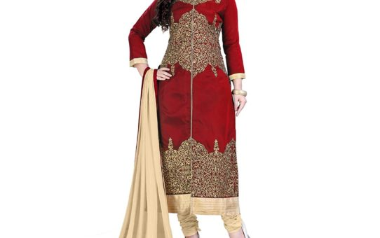 Siddeshwary Fab Red And Beige New Embroidery A-line Taffeta Fabric Designer Long Free Size Salwar Suit Dress Material