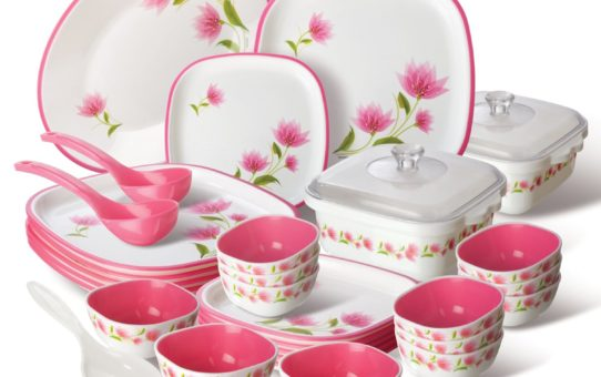 Nayasa Printed Plastic Dinner Set, 30-Pieces, Pink