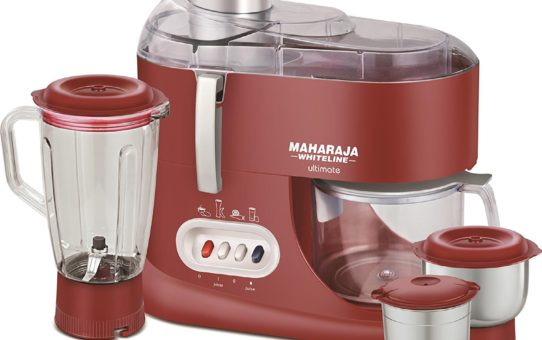 Maharaja Whiteline Ultimate Red Treasure 550-Watt Juicer Mixer Grinder (Red and Silver)