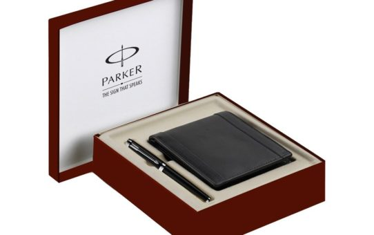 Parker Ambient Lacquer Black CT Roller Ball Point Pen Gift Set - with Wallet