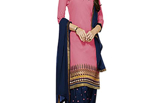 ZHot Fashion Women's Embroidered un-stitched Salwar Suit Material In Cotton Fabric (ZHKPT1003) ligth Pink