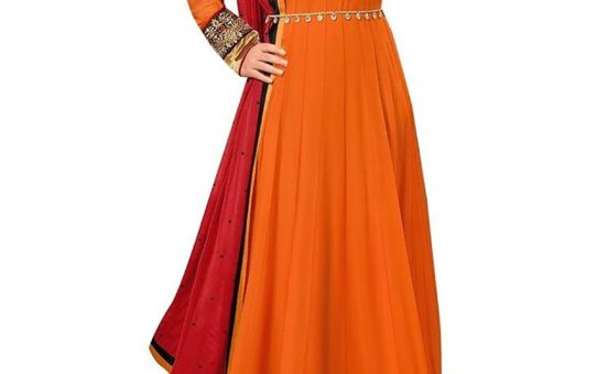 Stutti Fashion Exclusive Orange Color Georgette Semi-stiched Suit