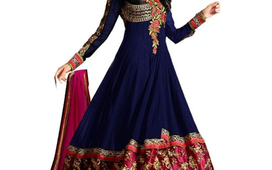 Janasya Women's Georgette Semi-Stiched Salwar Suit (JNE0975-DR-NAVY_Free Size_Navy Blue)