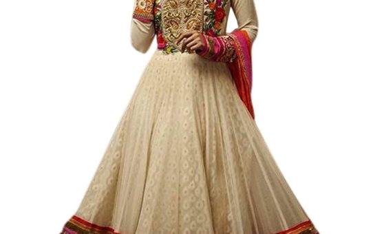 Wimberly Fashion Women's Net Anarkali Semi-Stiched Salwar Suit (WF0019-FBA_Free Size_Off-White)