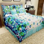 Home Candy 144 TC Floral Charming Cotton Double Bedsheet with 2 Pillow Covers – Blue
