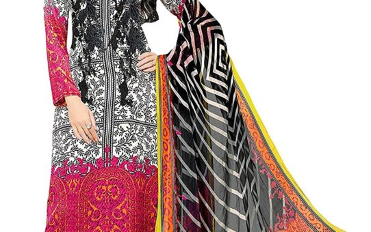 EthnicJunction Women's Pure Lawn Cotton Printed Straight Fit Unstitched Dress Material (EJ1117-46_Black And Pink)