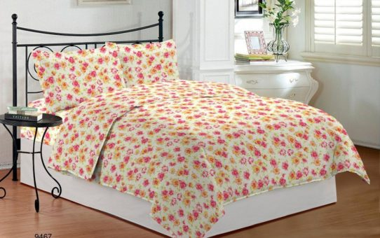 Bombay Dyeing Camellia 100% Cotton Double Bedsheet with 2 Pillow Covers-Green