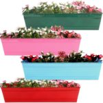 TrustBasket SET OF 4 -Rectangular Railing Planter-Green,Magenta,Teal,Red (23 Inch)