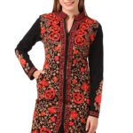 Saadgi Woollen Embroidered & Embellished with Handwork Multi Thread Work Long Winter Kurta/ Kurti