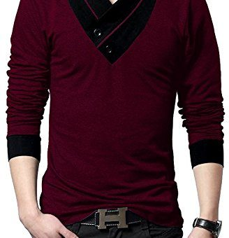 "Seven Rocks Men's V-Neck Cotton Tshirt ""V-Neck Tshirt Wine Melange"""