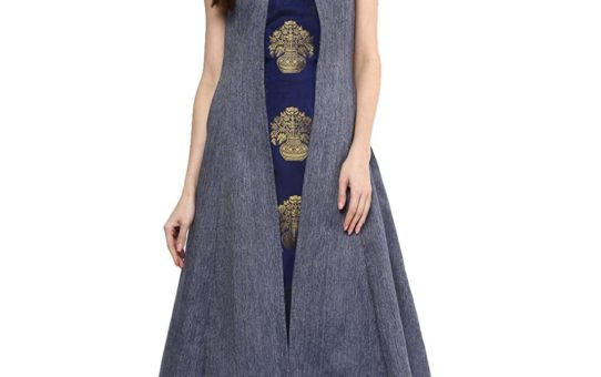 Aahwan Women's Blue Denim A-line Long Kurti