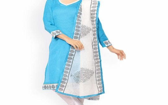 ZHot Fashion Women's Printed Un-stitched Salwar Suit Material In Cotton Fabric (ZHRN1006) Blue