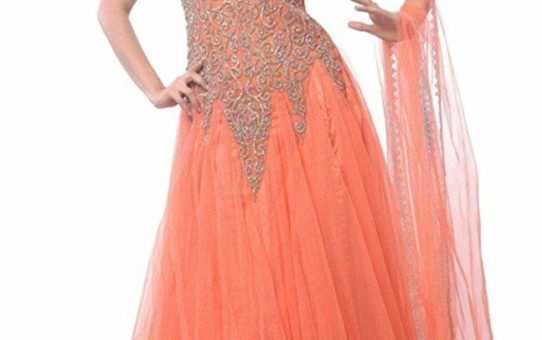 Stutti Fashion Exclusive Orange Color Net Semi-stitched Gown and Salwar Suit Material