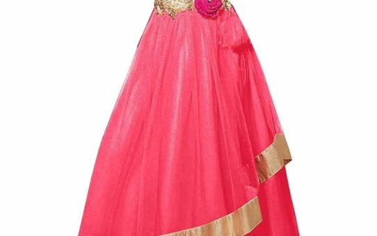 Cartyshop Party Wear kids Pink softnet gown (43 inches (7-8 yrs))