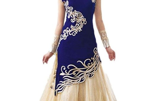 Unique Fashion Station Women's Velvet & Net Semi Stitched Anarkali Dress Material (UFS071215A001_Blue_Free Size)