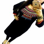 Kesu Fahion Women's Embroidered semi-stitched Selfie Kurti In Georgette Fabric (KUKRT1013_Free Size_Black)