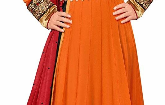 RockChin Fashions Georgette Embroidered A-Line Dress Material (RC-3040 _Orange _Free Size)