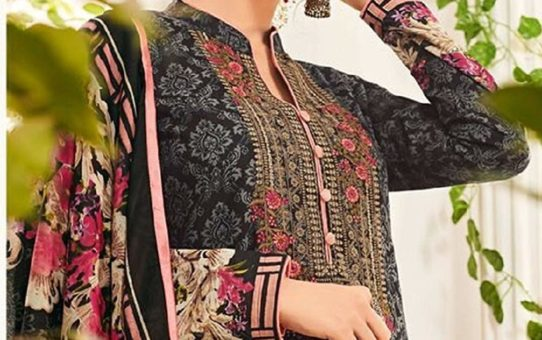 DS Fabrics lawn Cotton Embroidered Dress Material With Lawn Mal Mal Dupatta Beautiful Collection For EID