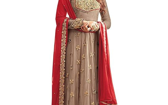 RTHub Women's Net Embroidered And Hand Work Semi Stitched Anarkali salwar suit (Grey_Free-Size_Maskeen-Grey)