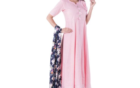 Khushal K Women's Cotton Straight Kurta With Palazzo Pant And Floral Print Dupatta Set