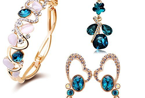 YouBella Crystal Combo of Pendant Necklace Set, Bangle Bracelet & Earrings for Women