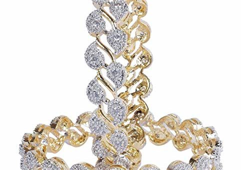 M CREATION Partywear Collection Zircon Made Gold Plated Diamontic Bangle Set For Girls & Women B113 (Pack Of 2) (2.6)