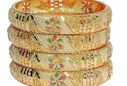 Mansiyaorange Gold Plated Bangle Set For Women