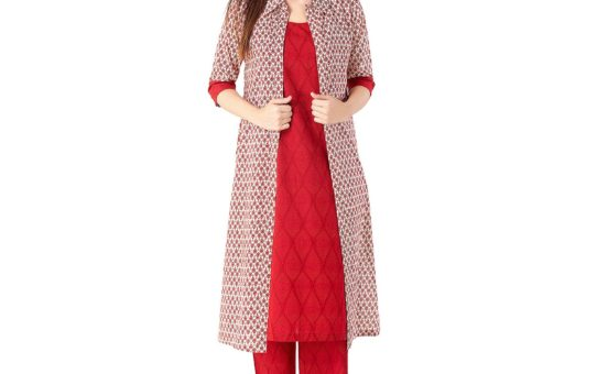 KHUSHAL K Women's Cotton Printed Kurta with Palazzos and Jacket Set