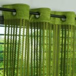 Story@Home Fancy Sparkling Sheer Strip Premium String Beads Hanging Net 2 Piece Polyester Door Curtain Set – 7ft, Parrot Green